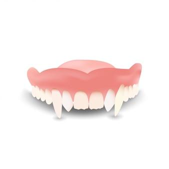 La dentadura de drácula aislada en blanco para tu creatividad