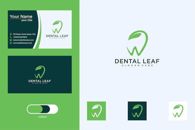 Dental con diseño de logotipo de hoja y tarjeta de visita.