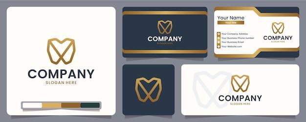 Dental, limpio, diseño de logo y tarjeta de visita.