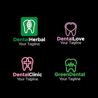 Dental logo simple monogram elegante diseño plano