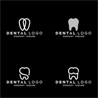 Dental premade logo monogram simple dientes set