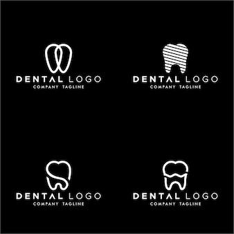 Dental premade logo monogram simple dientes set