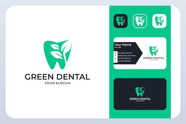 Dental verde con diseño de logotipo de hoja y tarjeta de visita.