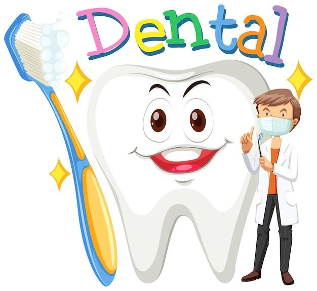 Dentista y diente limpio