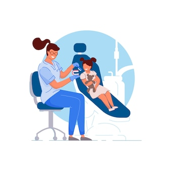 Dentista infantil médico especialista mujer enseñando