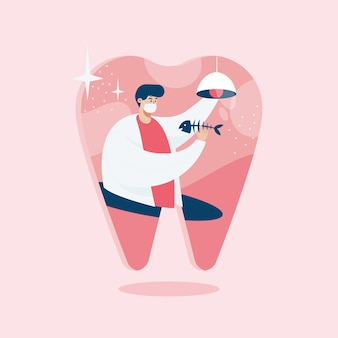 Dentista investigando, ilustración de estilo de dibujos animados