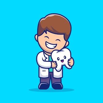 Dentista lindo con la ilustración del icono de dibujos animados de diente. concepto de icono de salud dental aislado. estilo plano de dibujos animados
