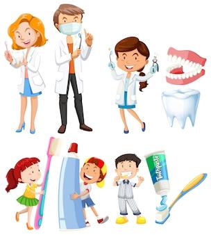 Dentista y niños cepillarse los dientes