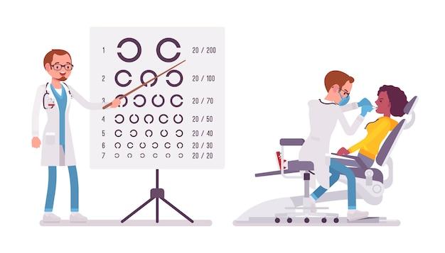 Dentista y oftalmólogo masculino.