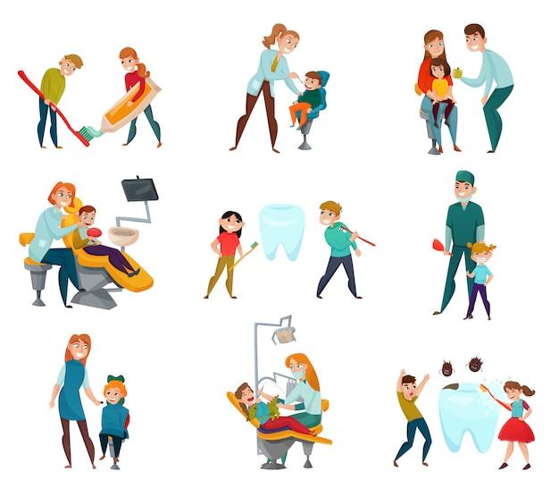Dentista pediátrico con niños y tratamiento médico.