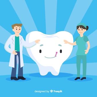 Dentistas cuidando de una muela gigante