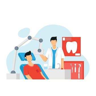 Dentistas examinando pacientes masculinos y femeninos tumbados en sillas