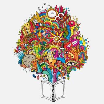 Dentro de una flor de libro llena de sueños coloridos dibujo a mano del arte del doodle