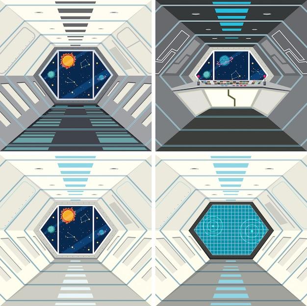 Dentro del fondo de la nave espacial.