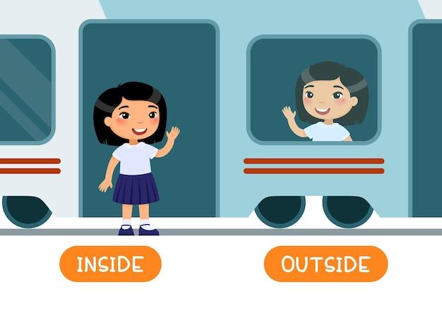 Dentro y fuera de la tarjeta de palabras de antónimos tarjeta de memoria flash para el aprendizaje del idioma inglés concepto de opuestos