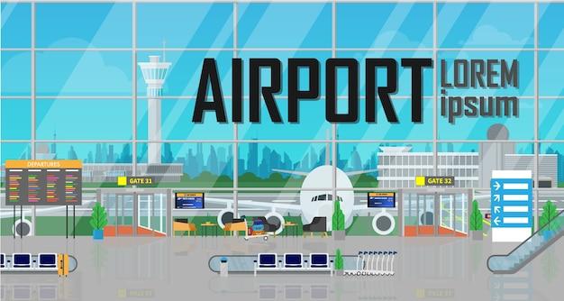 Dentro de la terminal del aeropuerto de salida edificio con avión fuera.