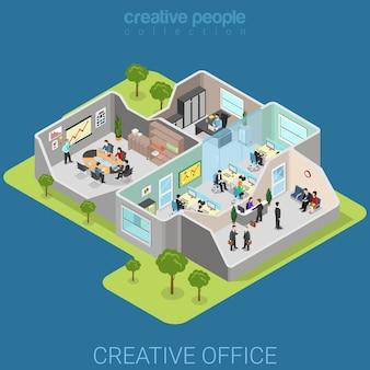 Departamento corporativo de la empresa de negocios isométrica plana interior de la oficina
