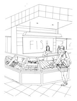 Departamento de pescado dibujado a mano ilustración colorida. tienda interior con compradores.