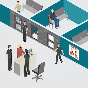Departamento de policía, prisión preventiva provisional, sección de prisión, composición isométrica interior con oficiales de guardias arrestados criminales ilustración vectorial