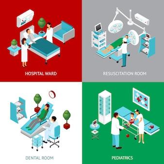 Departamentos hospitalarios 4 cuadrados isométricos.