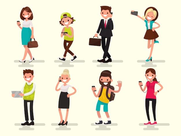 Dependencia móvil. personas con su ilustración de gadgets