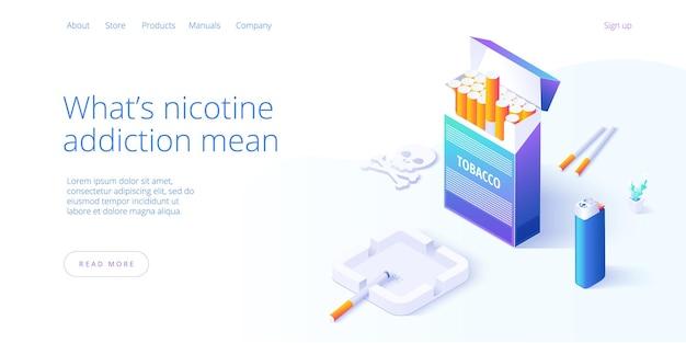 Dependencia de la nicotina o adicción al tabaquismo ilustración en diseño isométrico.
