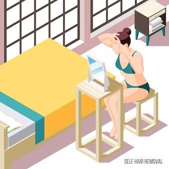 Depilación con mujer depilando las cejas delante del espejo 3d