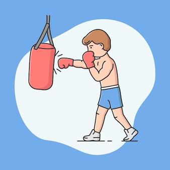Deporte activo profesional, competiciones deportivas y concepto de estilo de vida saludable. el muchacho alegre joven está boxeando. saco de boxeo patadas de personaje masculino. estilo plano de contorno lineal de dibujos animados. ilustración de vector.