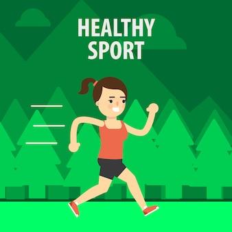 Deporte al aire libre. niña corriendo en la calle