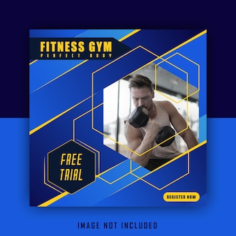 Deporte azul amarillo ejercicio publicación de plantilla de redes sociales deportivas