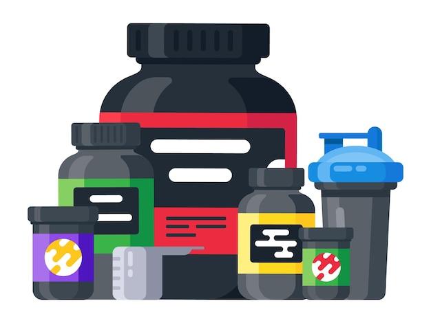 Deporte, bebida energética y batidora de proteínas. conjunto de comida deportiva de culturismo. frascos y frascos con suplementos para el crecimiento muscular. vector ilustración plana aislada