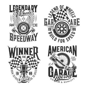 Deporte de carreras, estampados de camisetas de motocross speedway para carreras de coches y rally, iconos. campeonato de carreras y copa de carreras de motos, ruedas en llamas y bandera de victoria final con pistones de motor