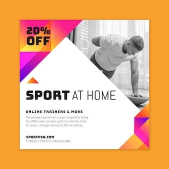 Deporte en casa flyer square