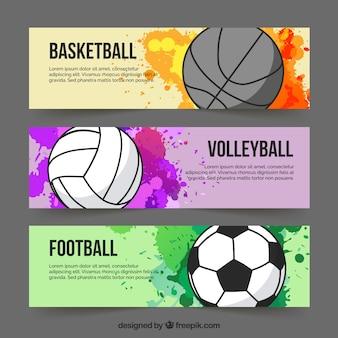 Deporte coloridas pancartas