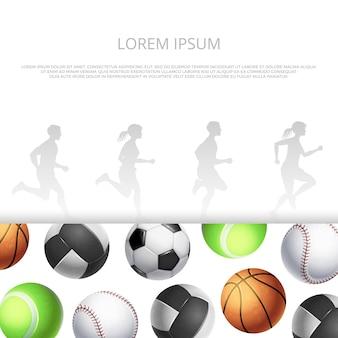 Deporte, diseño de fitness con balones realistas y siluetas de personas corriendo.