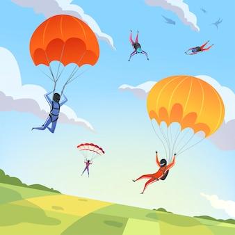 Deporte extremo aficiones adrenalina personaje vuelo acción pose paracaidismo paraplanners dibujos animados
