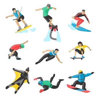 Deporte extremo vector personas. parasailing, wakeboard, snowboard, rocker, snowboards, flyboard.