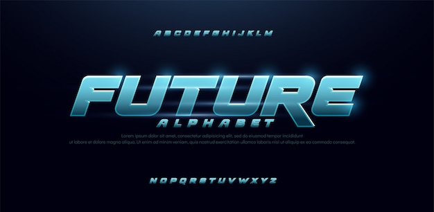 Deporte futuro azul brillo fuente cursiva moderna alfabeto