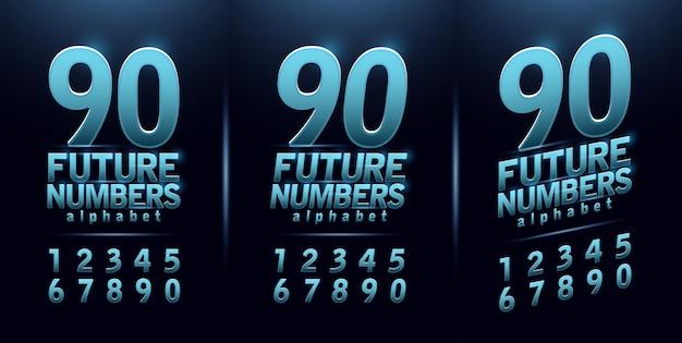 Deporte futuro número azul brillo fuente alfabeto moderno
