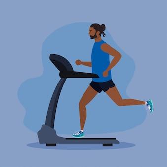 Deporte, hombre afro corriendo en la cinta, persona deportiva afro en la máquina de entrenamiento eléctrico en púrpura
