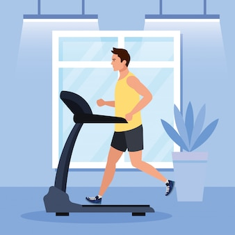 Deporte, hombre corriendo en la caminadora en la casa, deportista en la máquina de entrenamiento eléctrico en el hogar del gimnasio