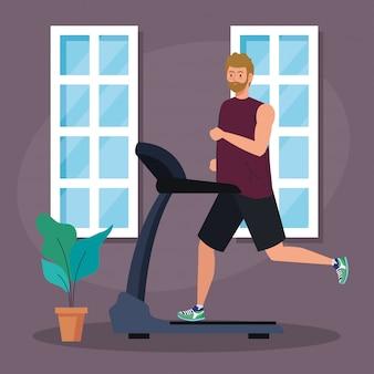 Deporte, hombre corriendo en la caminadora en casa, deportista en la máquina de entrenamiento eléctrico