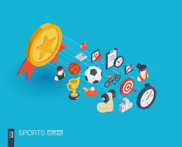 Deporte integrado iconos web. concepto de progreso isométrico de red digital. sistema de crecimiento de línea gráfica conectado. resumen de antecedentes para el estilo de vida saludable, fitness y gimnasio. infografía