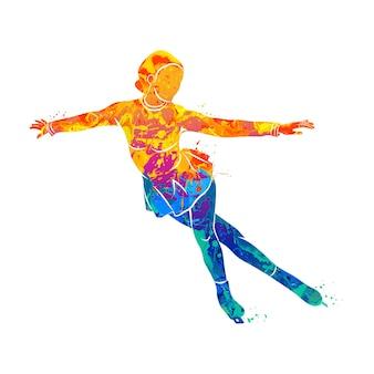 Deporte de invierno abstracto chica de patinaje artístico de salpicaduras de acuarelas