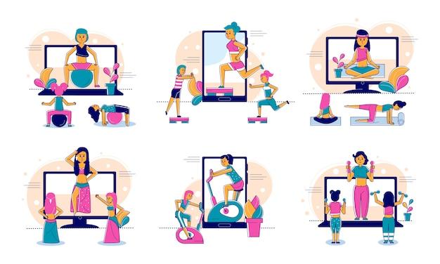 Deporte en línea y fitness, estilo de vida, tecnología web de entrenador en línea e ilustración de línea de concepto de personas.