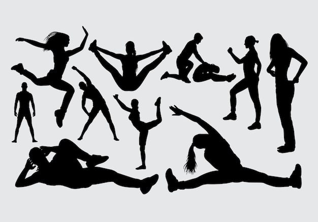 Deporte masculino y femenino silueta