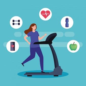 Deporte, mujer corriendo en la caminadora, deportista en la máquina de entrenamiento eléctrico, con iconos de deporte