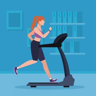 Deporte, mujer corriendo en la cinta de correr en la casa, deportista en la máquina de entrenamiento eléctrico en el diseño de ilustración de inicio de gimnasio