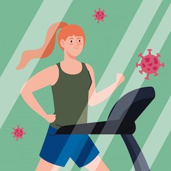 Deporte, mujer corriendo en cinta, con partículas coronavirus covid 19