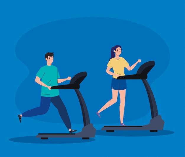 Deporte, pareja corriendo en cintas de correr, deportistas en las máquinas de entrenamiento eléctrico